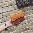 韓版復古錢包女短款三折鏤空錢夾歐美簡約   【米娜小鋪】