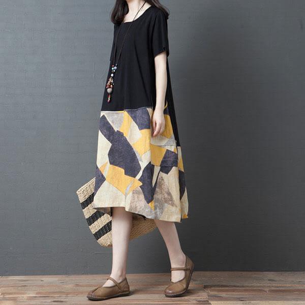 棉麻 下襬拼接前短後長洋裝-大尺碼 獨具衣格