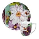 德國Waechtersbach經典彩繪系列390ml馬克杯+21cm盤組-Impressions白花