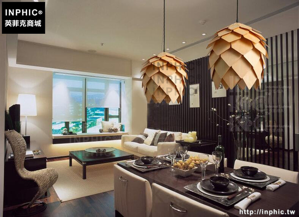 INPHIC- 北歐咖啡館實木吊燈美式個性田園現代簡約木藝燈飾日式餐廳木頭燈-C款_S197C