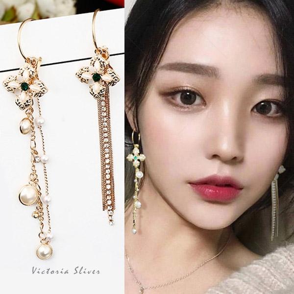 925純銀針  韓國優雅氣質 長款十字架珍珠流蘇  耳環-維多利亞1810109