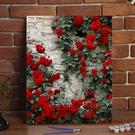 掛畫 diy數字油畫花卉風景手繪植物填色畫客廳臥室裝飾油彩畫 玫瑰花牆T