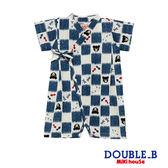 DOUBLE_B 日本製  可愛黑熊金魚甚平連身服(白)