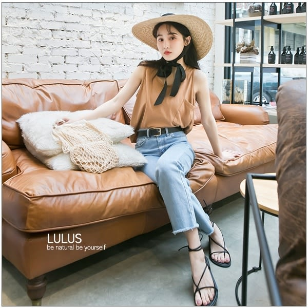 LULUS特價-G斜口袋水洗短版無袖上衣-5色  現+預【01111353】