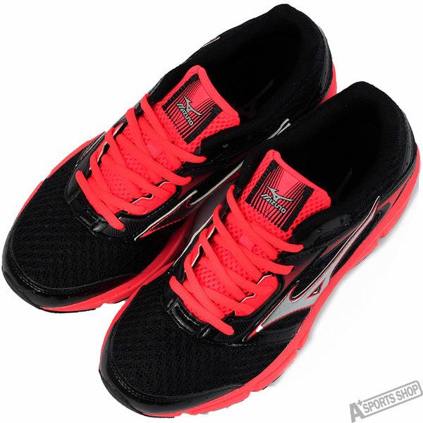 mizuno 女 WAVE IMPETUS 4 (W) 慢跑鞋 黑/紅 -J1GD161303