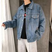 秋季男士潮牌牛仔外套男寬鬆韓版長袖純色夾克嘻哈青年學生牛仔衣