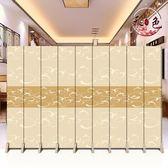 歐式酒店屏風隔斷牆摺疊行動大廳簡約現代臥室客廳雙面布藝摺屏