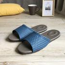 風格系列-編織紋皮質室內拖鞋-藍...