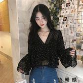 韓版寬鬆氣質黑色波點V領荷葉邊襯衫喇叭袖長袖雪紡衫