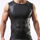 ▽男情趣服▽男士仿皮背心 舒適圓領 漆皮寬肩無袖 黑色 夏季爆款內衣褲 A401皮背心