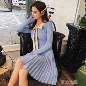 長袖洋裝-秋天冬天法式復古智熏桔梗裙超仙的小個子小香風長袖 夏沫之戀