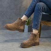 復古真皮短靴 手工鞋  耐磨 圓頭短靴/2色 -標準碼-夢想家-0911