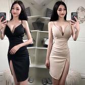 洋裝連身裙2019春季新款女裝性感夜店吊帶V領修身顯瘦高腰斜邊連身裙/米蘭世家