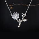 立體透明水晶花朵樹枝 設計感純銀雙枝項鏈
