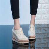 手工真皮女鞋34~40 2020新款韓版頭層牛皮厚底內增高鞋~3色