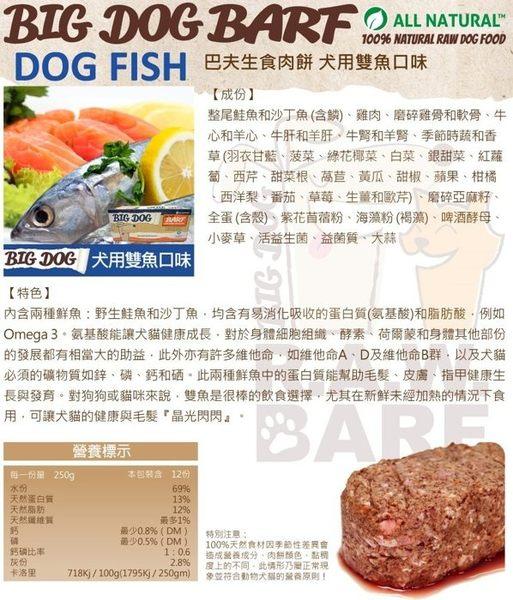 *WANG*【免運-低溫配送】 BIG DOG BARF BIG DOG 犬用生食肉餅 雙魚口味-12入=3kg