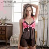 大尺碼睡衣 Annabery桃紅緞帶柔紗二件式睡衣 緞面《SV6747》HappyLife