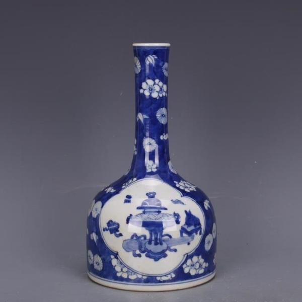 清康熙藍地博古花紋插花瓶膽瓶手繪仿古工藝瓷器家居中式古玩收藏1入