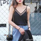 黑色雪紡吊帶背心女夏外穿短款寬鬆百搭白色v領打底性感內搭上衣艾美時尚衣櫥