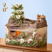 魚缸造景 飾品 魚缸客廳風水招財擺件小型桌面 流水噴泉創意家庭室內裝飾品歐式 玩趣3C