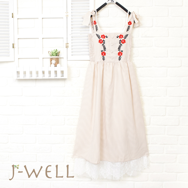 J-WELL 渡假風雙綁帶繡花洋裝蕾絲內襯洋兩件組 (組合A10  8J1228杏色F+8J1563白F)
