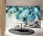 北歐客廳電視背景墻壁紙歐美現代簡約小清新墻紙彩色羽毛壁畫墻布