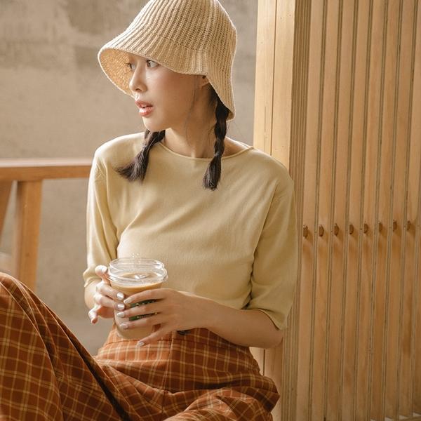 Queen Shop【01012652】U領捲邊設計針織上衣 四色售*現+預*