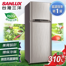 留言加碼折扣享優惠SANLUX台灣三洋 310公升1級能效雙門冰箱 SR-C310B1