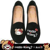 HELLO KITTY X Ann'S棕色熊熊不對稱彩色刺繡內增高樂福鞋-黑