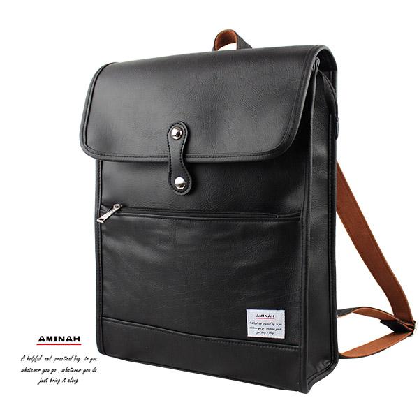 黑色無限皮革後背包   AMINAH~【am-0290】