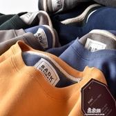 帽T日系簡約秋冬加絨寬鬆圓領帽T男裝舒適休閒運動純色套頭保暖上衣(快速出貨)