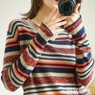 條紋上衣 棉麻韓版女長袖秋裝新款寬鬆條紋大碼內搭薄款針織上衣打底衫 愛丫 免運