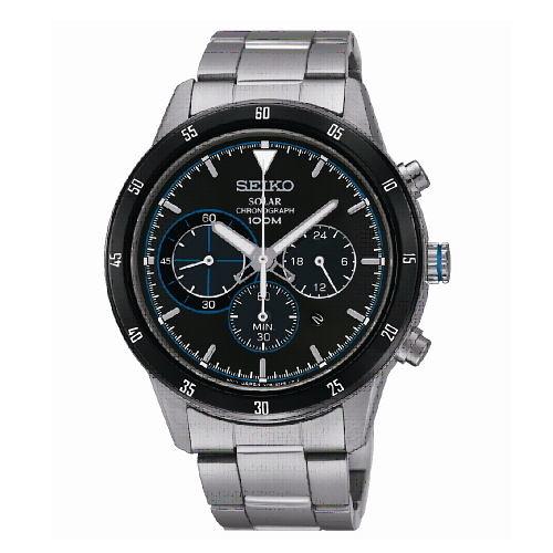 SEIKO Criteria 太陽能三眼計時腕錶/藍面x紅/V175-0DA0B