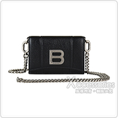 BALENCIAGA銀字B LOGO牛皮三折釦式鏈帶斜背短夾(黑)