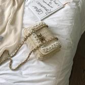 草編包包女包新款2019時尚小方包百搭編織夏季珍珠錬條單肩斜背包 滿天星