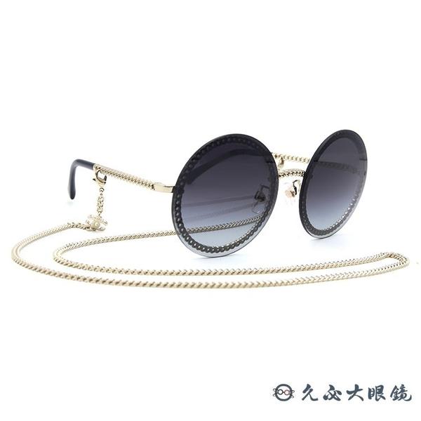 CHANEL 香奈兒 太陽眼鏡 4245 (金) 鍊環 圓框 附眼鏡鏈 墨鏡 久必大眼鏡