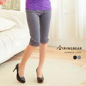 七分褲--極緻完美線條西裝褲版型素面中腰七分褲(黑.灰M-6L)-S28眼圈熊中大尺碼