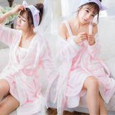 雪貂絨-冬季長袖睡衣-超柔嫩2件組睡衣~睡裙+睡袍-5款(特級珊瑚絨)
