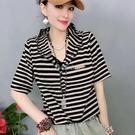 2021夏季新款寬鬆時尚個性條紋連帽短袖t恤女韓版百搭顯瘦上衣女 快速出貨