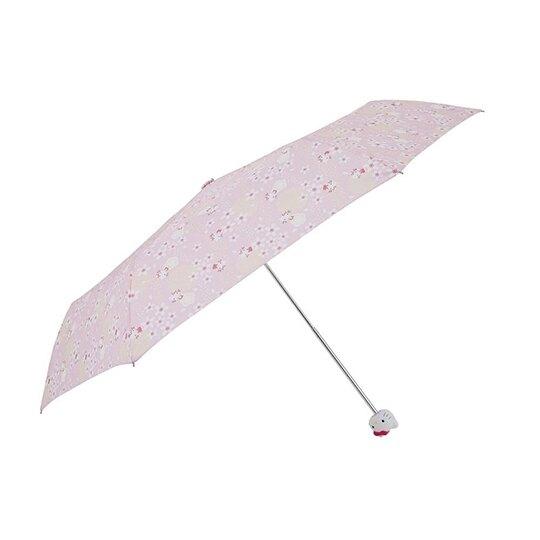 〔小禮堂〕Hello Kitty  抗UV頭型柄折疊雨傘《粉黃.櫻花》折傘.雨具 4547128-18030