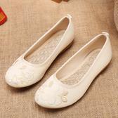 春夏款老北京布鞋復古刺繡花鞋防滑平底漢服舞蹈民族風女單鞋