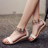 低跟涼鞋夏季坡跟低跟民族風波西米亞羅馬風格串珠平底大碼小碼水鑚女涼鞋 可然精品