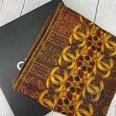 BRAND楓月 CHANEL 香奈兒 拜占庭風格 金黃色 鑲嵌壁畫圖樣 絲巾 領巾 大方巾 古典藝術