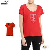 Puma Ferrari 紅 女 法拉利 短袖 上衣 經典系列 大盾牌 短袖 T恤 運動服飾 57282202