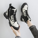加絨馬丁靴女薄款2020新款英倫風短靴透氣厚底百搭單靴高筒帆布鞋 夢幻小鎮