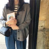 針織衫秋裝韓版寬鬆顯瘦單排扣長袖毛衣外套復古純色針織衫上衣開衫      都市時尚