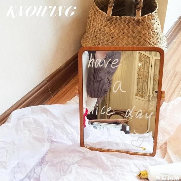 化妝鏡 *KNOWING*韓國ins同款桌面簡約原木化妝鏡便攜台式鏡子擺拍道具 自由角落