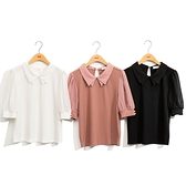 H2O 初夏 雪紡拼接羅紋布針織上衣 - 黑/白/磚粉色 #1671010