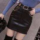 釘珠水洗PU皮裙半身裙秋節新款韓版高腰顯瘦修身短裙包臀裙女 快速出貨