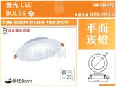 舞光 LED 12W 6000K 白光 全電壓 15cm 平板 崁燈_WF430472